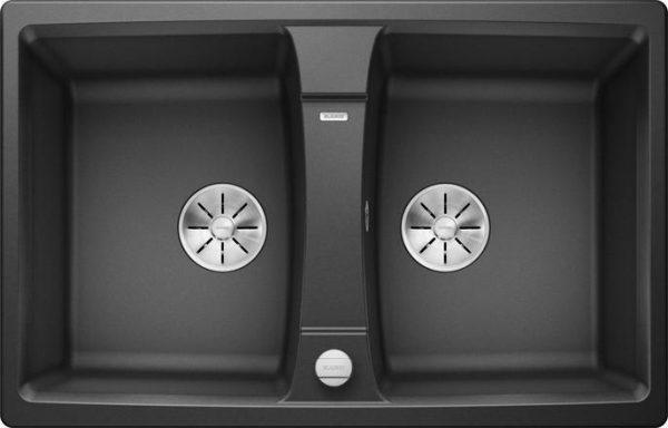 Blanco Lexa 8 kjøkkenvask i antrasitt sort farge - Dobbel oppvaskkum for 80cm skap