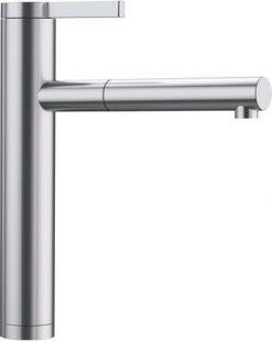 BLANCO Linee-S toppdesign kjøkkenkran i massiv børstet stål, med uttrekkstut