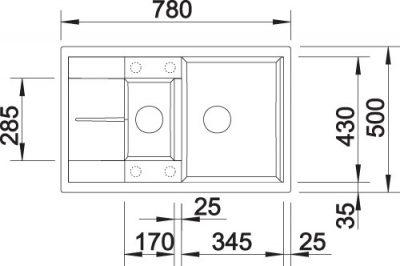 BLANCO BLANCOMETRA 6S COMPACT - Kjøkkenvask i Antrasitt farge - vendbar