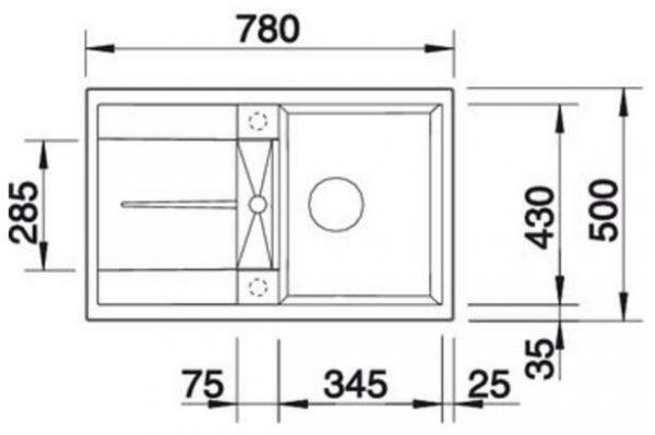 BLANCO BLANCOMETRA 45S - Kjøkkenvask i Silgranit Antrasitt - vendbar