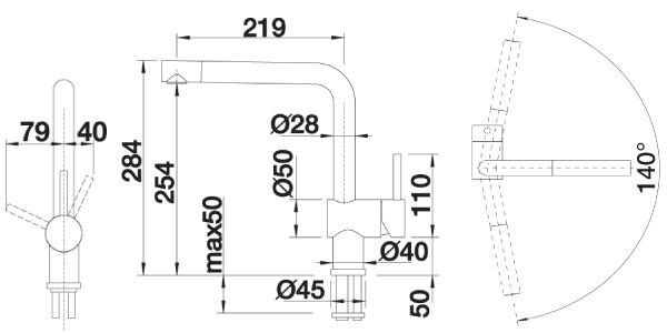 BLANCO LINUS-S - Kjøkkenkran i børstet stål med uttrekkbar tut
