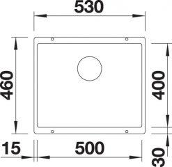 BLANCO BLANCOSUBLINE 500-U - Silgranit Antrasitt - for underliming
