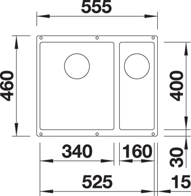 BLANCO BLANCOSUBLINE 340/160 U-L i Silgranit Hvit - for underliming