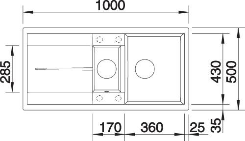 BLANCO BLANCOMETRA 6S – Kjøkkenvask i Silgranit Alumetallic farge – vendbar