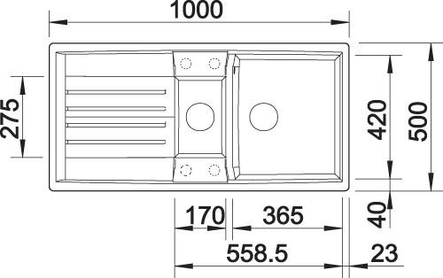 BLANCO BLANCOLEXA 6 S oppvaskkum i Silgranit Alumetallic farge – vendbar