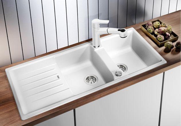 BLANCO MERKUR-S – Kjøkkenarmatur i Hvit-krom – uttrekkbar dusj og 2 stråler