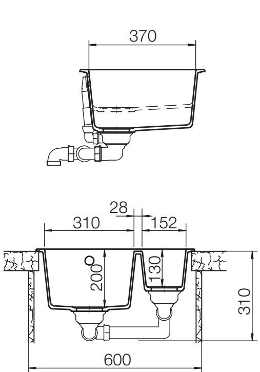 SCHOCK QUADRO N-150 – kjøkkenvask i Alpina farge