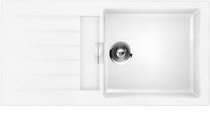 Schock Primus D100L stor vendbar kjøkkenvask i silgranitt hvit