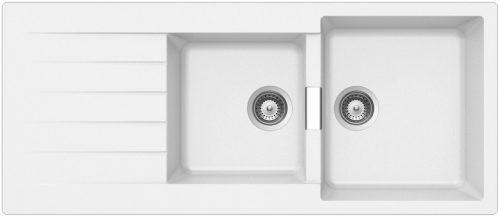 Schock Primus D200 stor dobbel kjøkkenvask i Silgranitt hvit farge