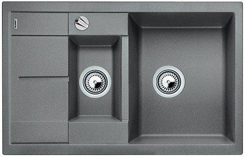 BLANCO BLANCOMETRA 6S COMPACT - Kjøkkenvask i Alumetallic farge - vendbar