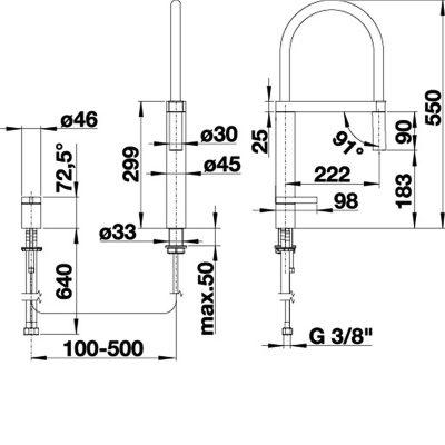 BLANCO CULINA-S DUO - Kjøkkenarmatur i Krom med fleksibelt dusjhode - 2 stråler