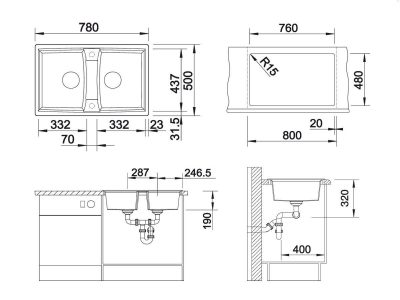 BLANCO BLANCOLEXA 8 Kjøkkenvask i Silgranit Alumetallic