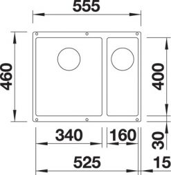 BLANCO BLANCOSUBLINE 340/160 U-L - Silgranit Alumetallic - for underliming