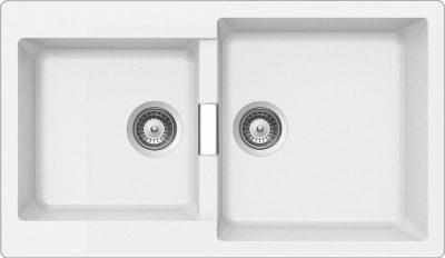 Schock Primus N200 stor dobbel kjøkkenvask i Silgranitt hvit farge
