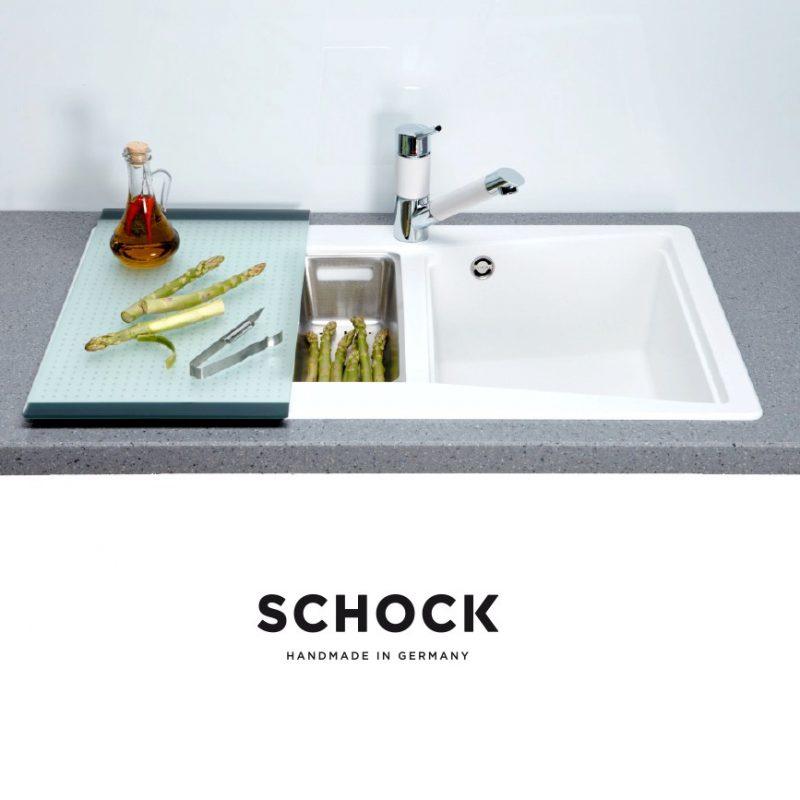 SCHOCK UNIVERSAL SKJÆREFJEL i herdet glass - for 50cm bred/dyp oppvaskkum