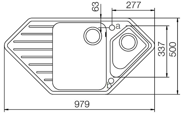 SCHOCK TYPOS C150 – Hjørne kjøkkenvask i Hvit farge med automatisk oppløft