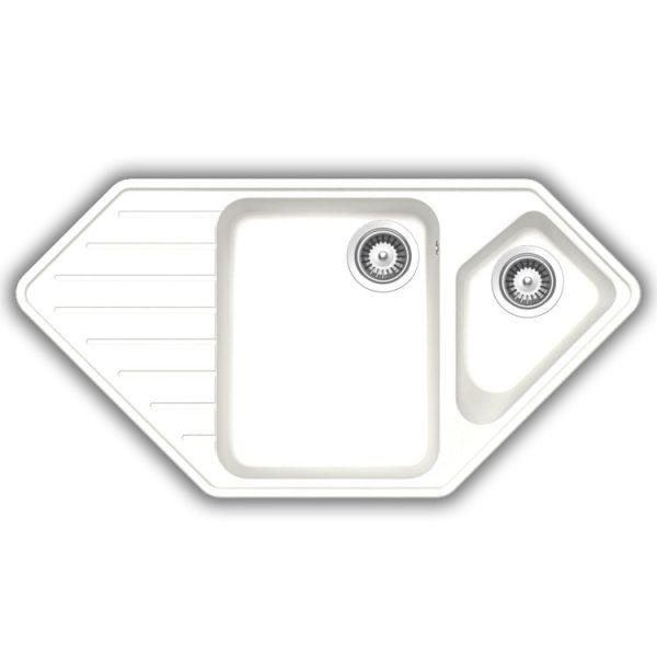 SCHOCK TYPOS C150 - Hjørne kjøkkenvask i Hvit farge med automatisk oppløft