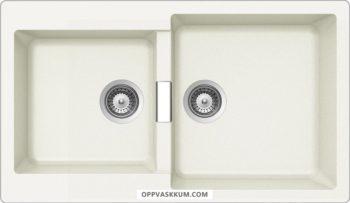 SCHOCK PRIMUS N-200 Hvit - Vendbar dobbel stor kjøkkenvask