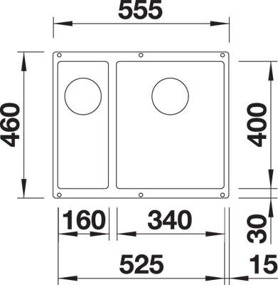 BLANCO BLANCOSUBLINE 340/160 U-R - Silgranit Alumetallic - for underliming