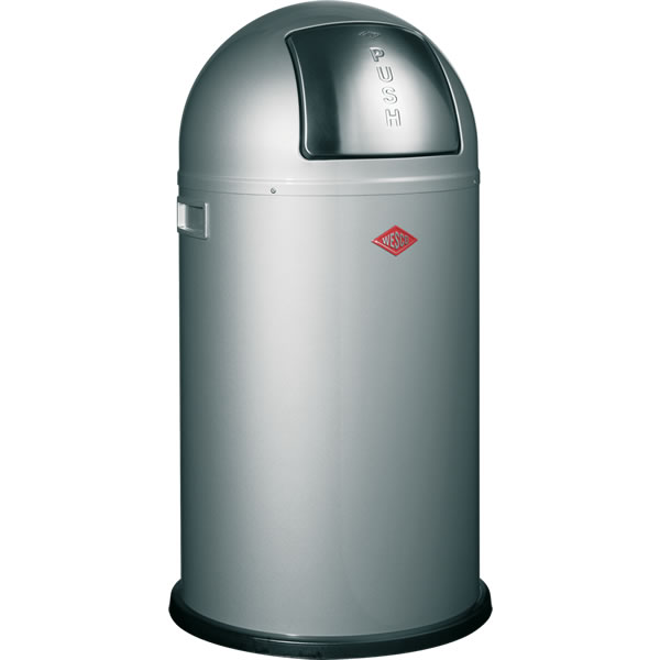 Wesco Pushboy smart avfallsbøtte 50 liter – sølv farge – stål