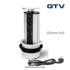 GTV El-søyle Sølv farge - 3 stikk jordet for kjøkken og kontor
