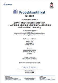 SINTEF Produktsertifikat for Blanco Filo-S, Blanco Linus-S, Blanco Levos-S