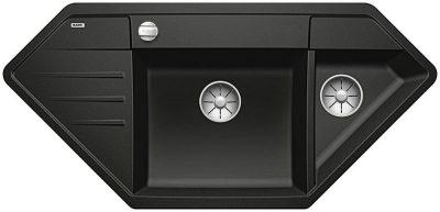 Blanco Lexa 9 E hjørnevask i antrasitt sort farge