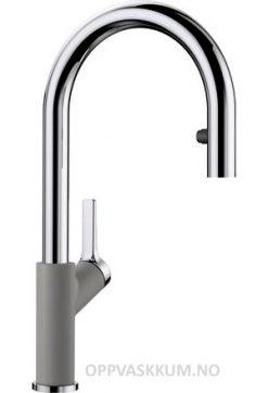 Blanco Carena-S kjøkkenkran i alumetallic & krom - med uttrekk og dusj stråle - 521360-1852808