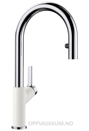 Blanco Carena-S kjøkkenkran i hvit & krom - med uttrekk og dusj stråle - 521368-1852877
