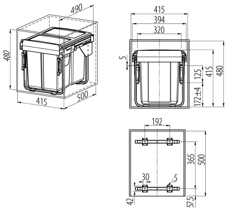 Segregator do szafki 450 mm_rys2