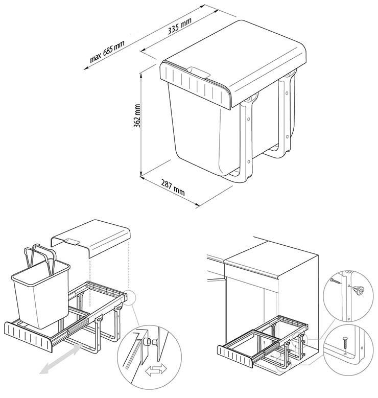 Tira avfallssystem kildesortering for kjøkkenskap gulvmontering