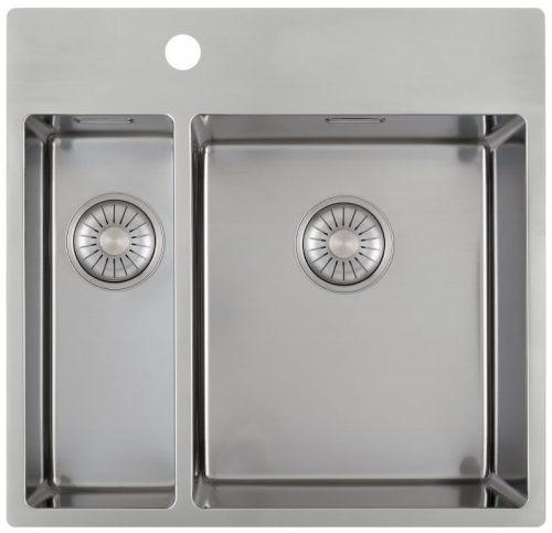 CARESSI 15cm/34cm håndlaget stål kjøkkenvask - med bakkant