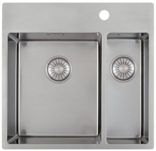 CARESSI 34cm/15cm håndlaget stål kjøkkenvask - med bakkant