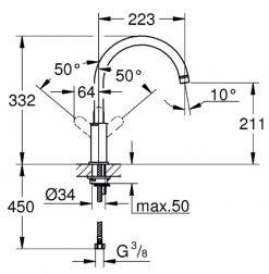 Grohe Bauedge kjøkkenkran i krom - måltegning