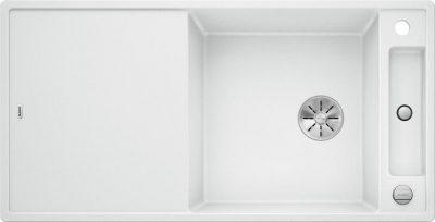 Blanco Axia III XL 6S oppvaskkum / kjøkkenvask i silgranitt hvit farge, med hendel og skjærefjel i frostet glass