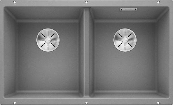 Blanco Subline 350/350 alumetallic grå farge oppvaskkum kjøkkenvask 1822306-523576