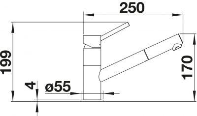 Blanco Kano-S kjøkkenbatteri i krom med uttrekk uttekkstut