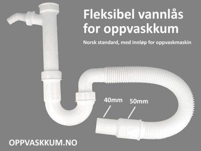oppvaskkum vannlås med innløp for oppvaskmaskin og fleksibel slange