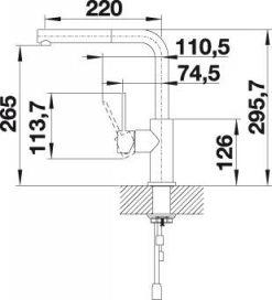 Blanco Lanora-S kjøkkenbatteri måltegning 1