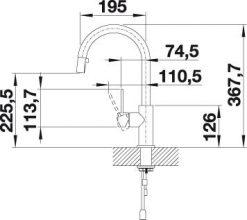 Blanco Candor-S klassisk kjøkkenbatteri i massiv børstet stål - med uttrekkstut
