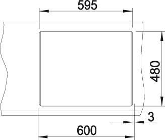 Tegningen viser kappemål for hull i benkeplate