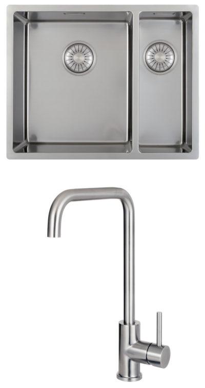 oppvaskkum + kjøkkenkran pakke i børstet stål
