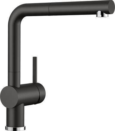 Blanco Linus-S kjøkkenbatteri i sort & krom med uttrekkstut - 526148 - 1858619